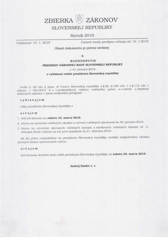 vyhlásenie volieb prezidenta slovenskej republiky