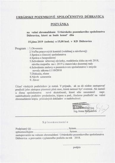 pozvánka 2019 urbár